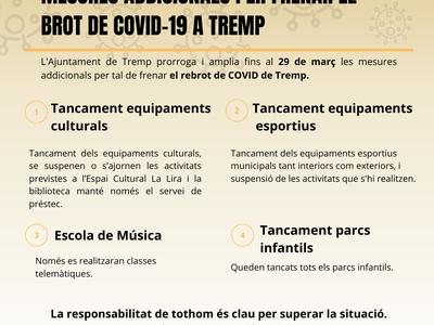 Es prorroguen 7 dies més les mesures addicionals per contenir el brot de COVID-19