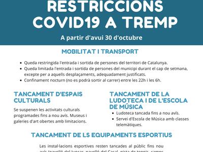 Noves restriccions COVID19 per a fer front a la segona onada de Covid19