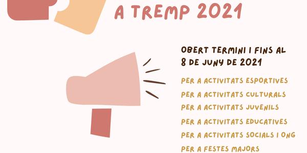 Obert el termini per a sol·licitar ajuts per a entitats per a l'any 2021