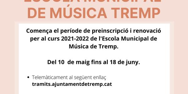 S'obre el període de preinscripció i renovació de l'Escola de Música per al curs 2021-2022
