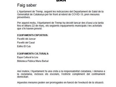 Tancament dels equipaments municipals per fer front al rebrot de covid-19